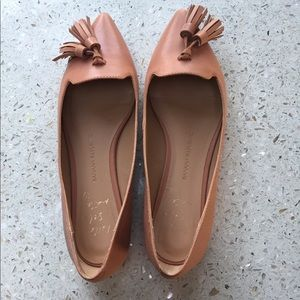 Tassel Pointed Tan Leather Flats